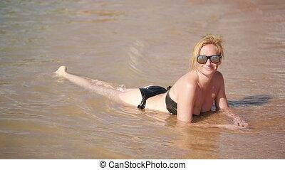 été, repos, water., girl, plage, mensonge