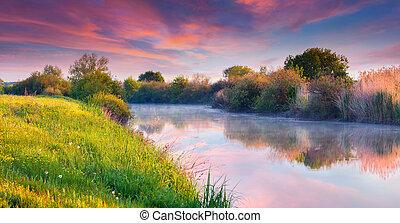 été, rivière, levers de soleil, coloré