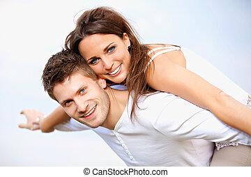 été, romantique coupler, vacances, leur, apprécier