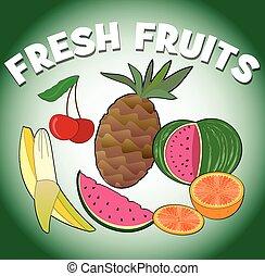 été, sain, frais, gradient, cerise, -, juteux, rafraîchissement, melon, exotique, orange, fruit, fond, vert, régime, fruits, images, fruits., ananas, banane