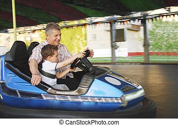 été, sien, petit-fils, promenades, parc, grand-père, voiture., aller, mon