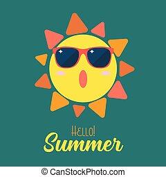 été, soleil, lunettes soleil port