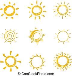 été, soleil, main, symboles, chaleur, vecteur, collection., dessiné, griffonnage, briller