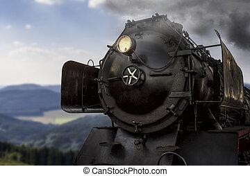 été, train, vapeur