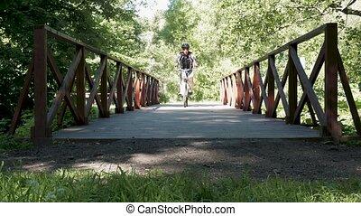 été, vélo, time., park., équitation, homme