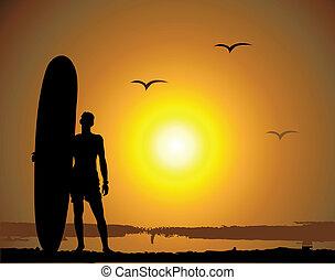 été, vacances, surfer