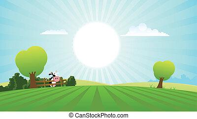 été, vache laitière, paysage