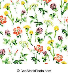 été, vendange, pattern., seamless, aquarelle, wildflowers, retro, fond, floral