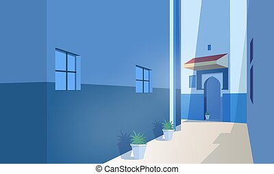été, vieux, casablanca, bâtiments, marocain, rue, ville, ancien, day., marrakesh, plat, porte, formulaire, ensoleillé, panoramique, pots., usines, illustration., traditionnel, vecteur, croissant, ou, vue