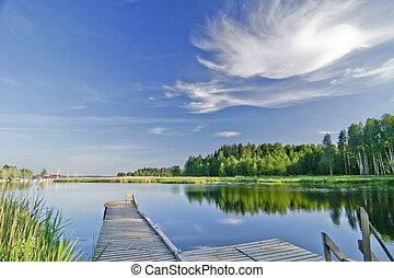 été, vif, ciel, lac, calme, sous