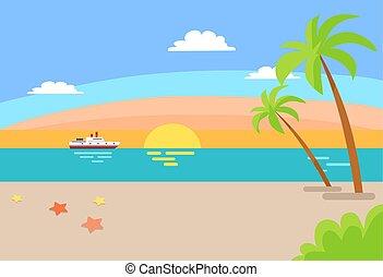 été, voile, océan, bateau croisière, plage, paysage