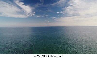 été, vol, render, sur, surface, mer, jour