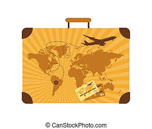 été, voyage, valise