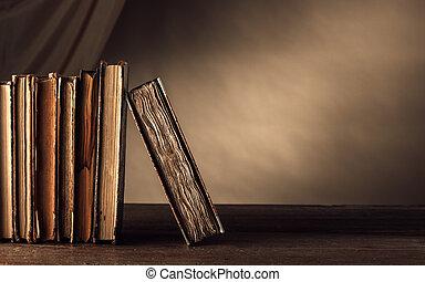 étagère, ancien, livres