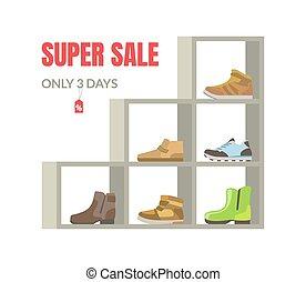 étagères, bannière, saison, vente, illustration, vecteur, chaussures, intérieur, super, magasin, chaussures