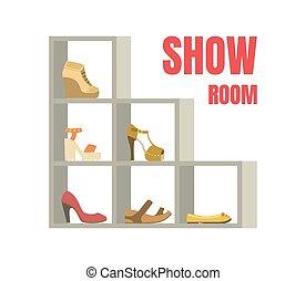 étagères, chaussures, exposition, illustration, vecteur, chaussures, femme, intérieur, gabarit, bannière, magasin, salle