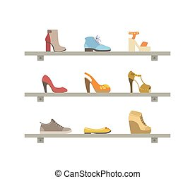 étagères, chaussures, mode, illustration, vecteur, chaussures, femme, intérieur, magasin