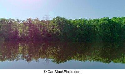 étang, coucher soleil, lac, vert, ou, été, aérien, vidéo, forêt