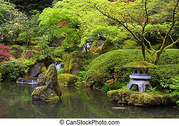 étang, jardin japonais