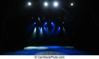 étape, arrière-plan bleu, lumières, concert