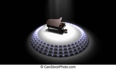 étape, piano, performance, majestueux, spotlights.
