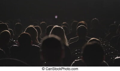 étape, rayons, audience, silhouettes, lumière