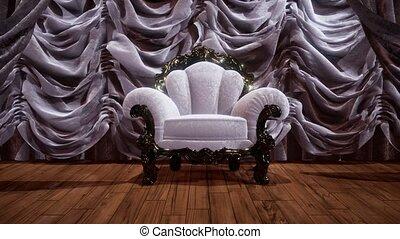 étape, théâtre, chaise, luxueux, rideau