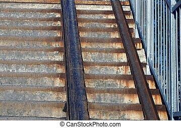 étapes, fer, rouillé, gris, plaques, texture, béton, brun