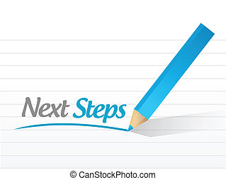 étapes, message, conception, illustration, suivant