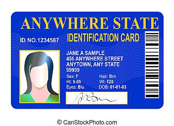état, carte identification, isolé, blanc