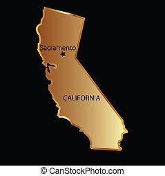 état, or, carte, californie