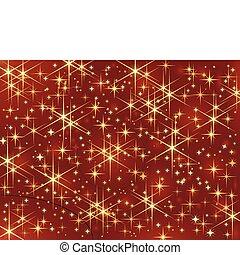 étincelant, sombre, stars., incandescent, fond, rouges