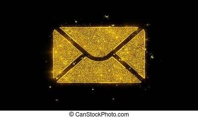 étincelles, courrier, noir, masage, particules, arrière-plan., icône