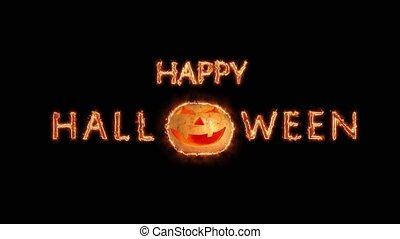 étincelles, texte, halloween, salutation, isolé, particules, arrière-plan noir, heureux