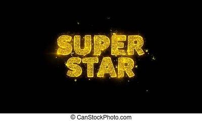 étincelles, texte, super, particules, noir, arrière-plan., étoile