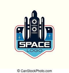 étiquette, écusson, ou, emblème, contour, fusée, espace, launch., exploration, résumé, plat, impression, adventure., mobile, vecteur, conception, navette, logo, app, style., autocollant