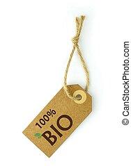 étiquette, 100%, bio, texte