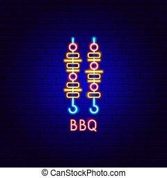 étiquette, barbecue, néon