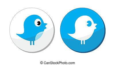étiquette, bleu, social, oiseau, média, vecteur