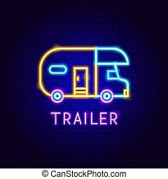 étiquette, caravane, néon