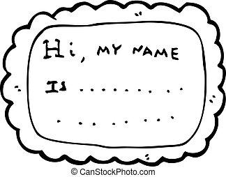 étiquette, dessin animé, nom