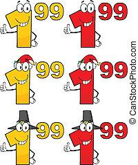 étiquette, ensemble, coût, collection, 4, nombres