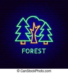 étiquette, forêt, néon