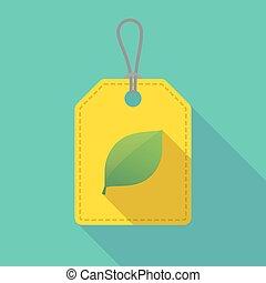 étiquette, icône, ombre, vert, long, feuille