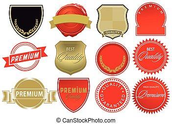étiquette, illustration, élevé, éléments, qualité