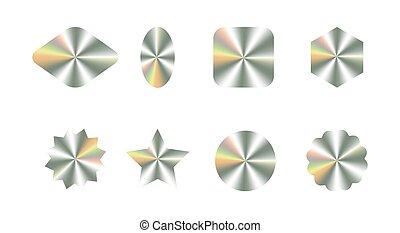 étiquette, kit, réaliste, paquet, formes, conception, garantie, différent, hologrammes, conception, récompense, produit