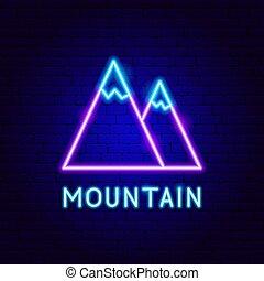 étiquette, montagne, néon