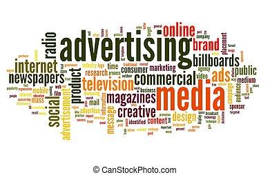 étiquette, mot, publicité, nuage