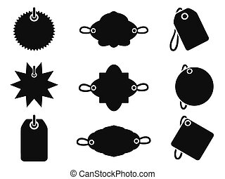 étiquette, noir, icônes