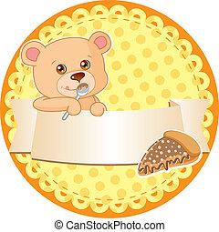 étiquette, ours, teddy